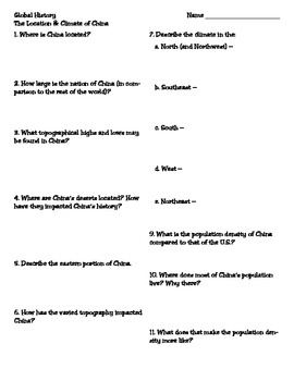 The Location and Climate of China