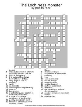 The Loch Ness Monster by John McPhee Reading Worksheet Crossword & Wordsearch