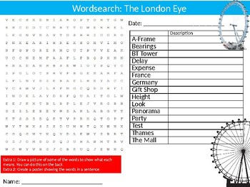 The London Eye Wordsearch Puzzle Sheet Keywords England Geography