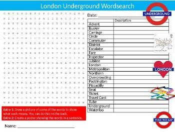 The London Underground Wordsearch Sheet Starter Activity Keywords Geography