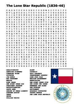 The Lone Star Republic Word Search