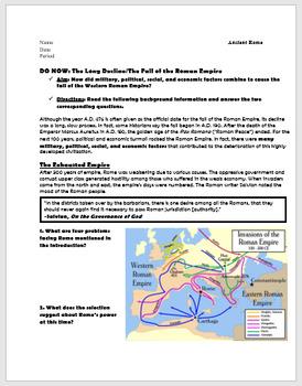 The Fall of the Roman Empire: Military, Political, Social, & Economic Factors