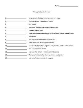 The Lophophorate Animals Vocabulary Quiz or Worksheet for Zoology