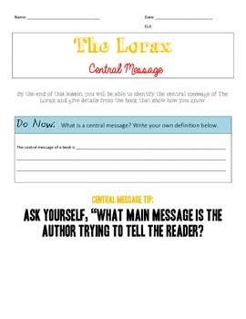 The Lorax: Central Message