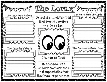 The Lorax Choice Menu Activity Board with Accompanying Graphic Organizers