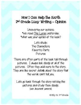 The Lorax Earth Day Writing