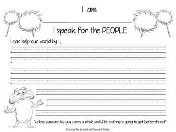 The Lorax, I Speak for the People - Dr. Seuss Activity