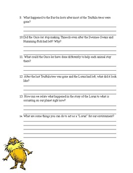 Dr. Seuss' The Lorax Movie Questions
