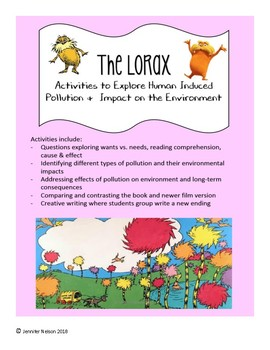 The Lorax Pollution & Environment Activity Pack