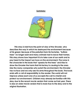 """""""The Lorax"""" Scripted Read Aloud/Lesson"""