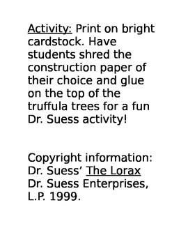 The Lorax Truffula Trees Activity