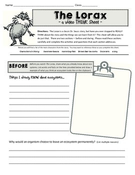 The Lorax Video Think Sheet