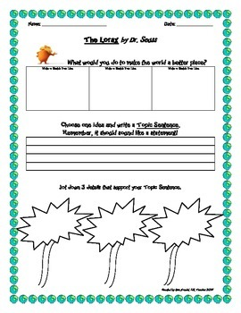 The Lorax: What would you do to make the world a better place? Writing Activity