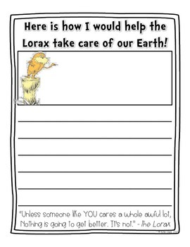 The Lorax Writing {FREE}