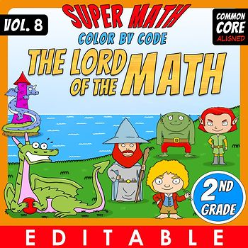 The Lord of the Math – 2nd grade – Color by Code – Common Core Aligned