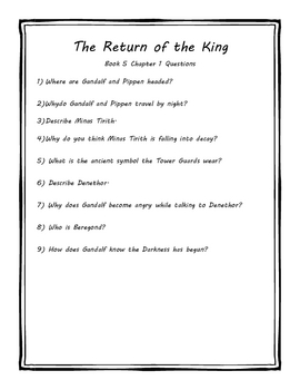 The Lord of the Rings Part 3:The Return of the King Literature Unit