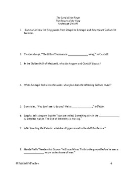 The Lord of the Rings The Return of the King Archetypal Movie Study Guide