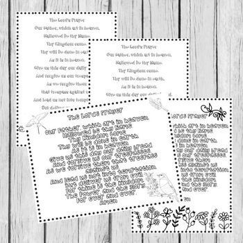 The Lord's Prayer Coloring Pages in 4 Languages (16 Pages)