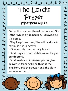 This is a picture of Slobbery The Lord's Prayer Printable