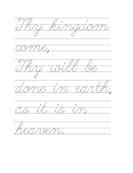 The Lord's Prayer Cursive Practice