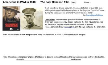 The Lost Battalion film - World War One - film guide - student handout