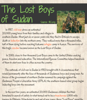 The Lost Boys of Sudan lesson with supplemental docs and performance task