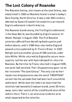 The Lost Colony of Roanoke Handout