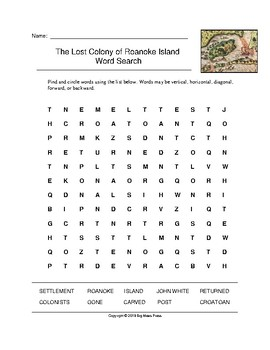 The Lost Colony of Roanoke Island Word Search (Grades 4-5)