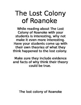 The Lost Colony of Roanoke Theories