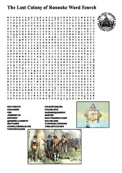 The Lost Colony of Roanoke Word Search