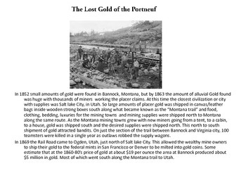The Lost Gold of the Portneuf