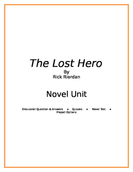 The Lost Hero: A Complete Novel Unit