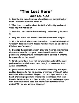 The Lost Hero Quiz: Ch. X-XX