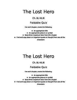 The Lost Hero: Quiz Ch. XLI-XLIX
