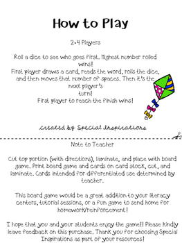 The Lost Kite! (a Vce (i-e) Board Game) Orton-Gillingham Inspired