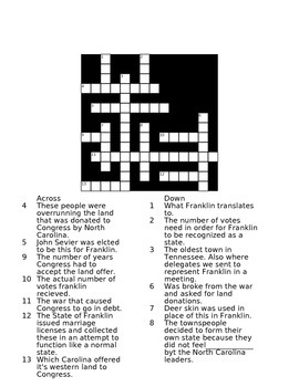 The Lost State of Franklin Cross Word Puzzle Study Guide