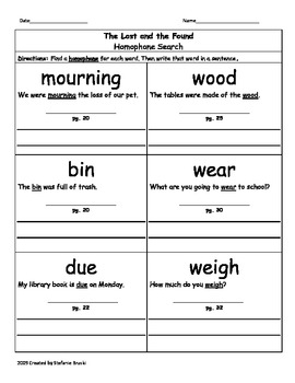 The Lost and Found by Mark Teague-Vocabulary (3rd Grade)
