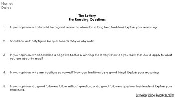 The Lottery: Anticipation Guide and Pre Reading Questions