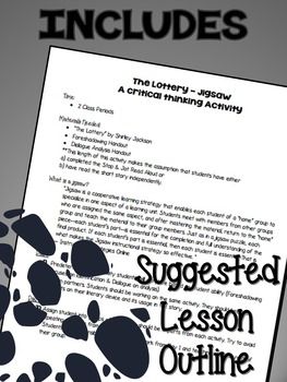 """Shirley Jackson's """"The Lottery"""" Jigsaw Critical Thinking Activity {CCSS Aligned}"""