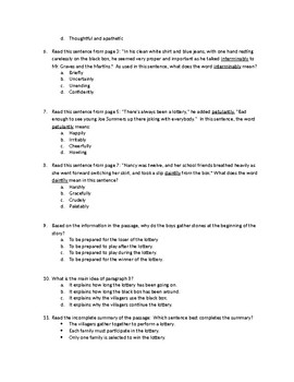 """The Lottery"" Literature Test Questions (Keystone)"
