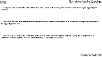 The Lottery: Reading and Discussion Questions