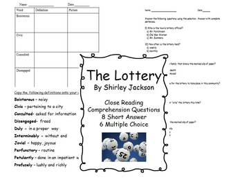 The Lottery - Vocabulary - Setting and Mood - Comprehension Questions