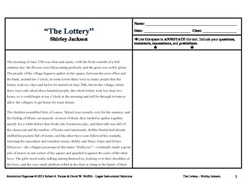 The Lottery by Shirley Jackson: Annotation Organizer