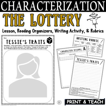 The Lottery by Shirley Jackson: Characterization Activity & Short Response Pack
