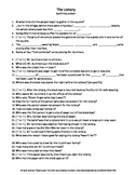 The Lottery by Shirley Jackson Complete Guided Reading Worksheet