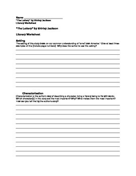 """The Lottery"" by Shirley Jackson - Literary Worksheet"