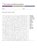 The Lottery by Shirley Jackson WORD SEARCH