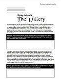 """The Lottery"" by Shirley Jackson with high-level bloom questions included."