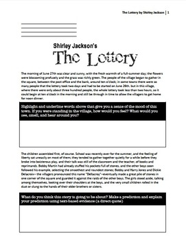 """The Lottery"" by Shirley Jackson with high-level bloom que"