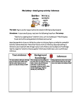 The Lottery - inference activity